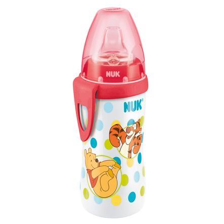 Láhev se silikonovým pítkem NUK Active Cup 300 ml Disney Medvídek Pú - červená, od 12 měsíců