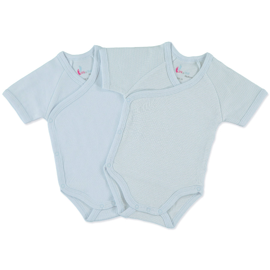pink or blue Boys Newborn Wrap Body Suit 1/4 sleeve, light blue/white - 2 pcs.