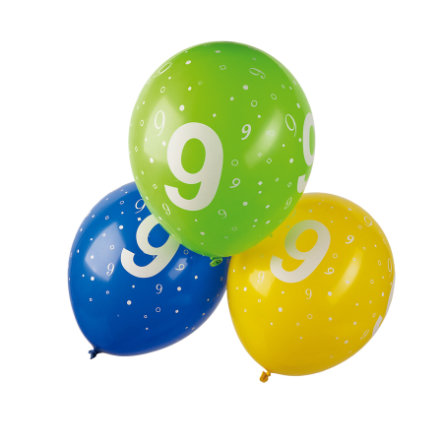 """HAPPY PEOPLE Nafukovací balónky s potiskem """"9"""" 5 kusů"""