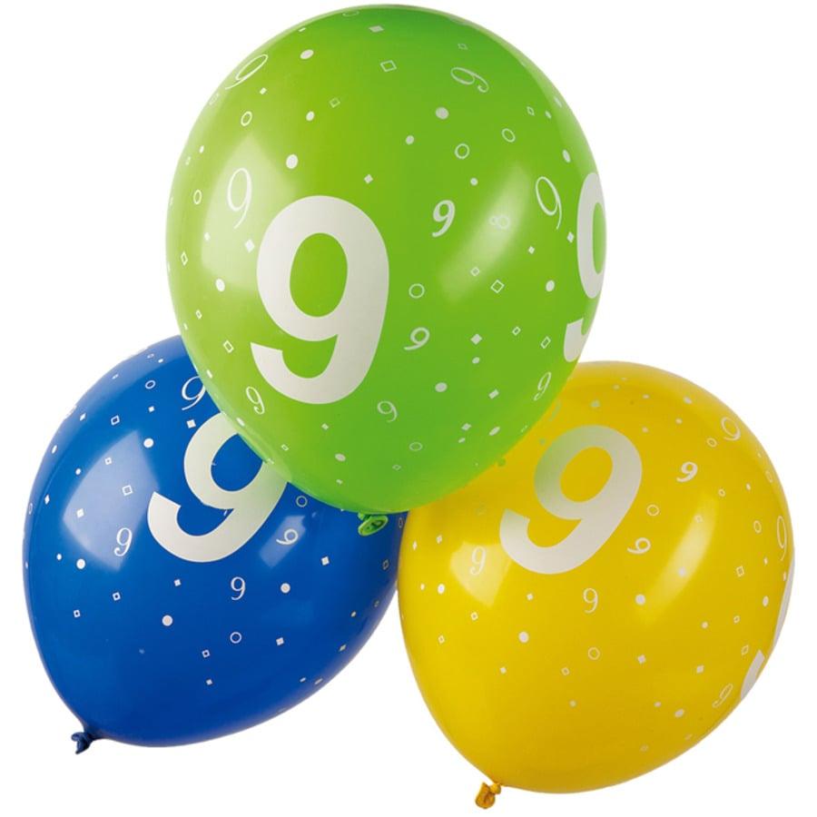 """HAPPY PEOPLE Luftballons mit Druck Zahl """"9"""" 5 Stk."""