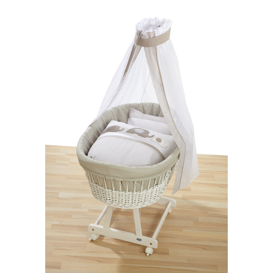 ALVI Cot Birthe white with Bassinet Set Dessin Elephant beige 323-6