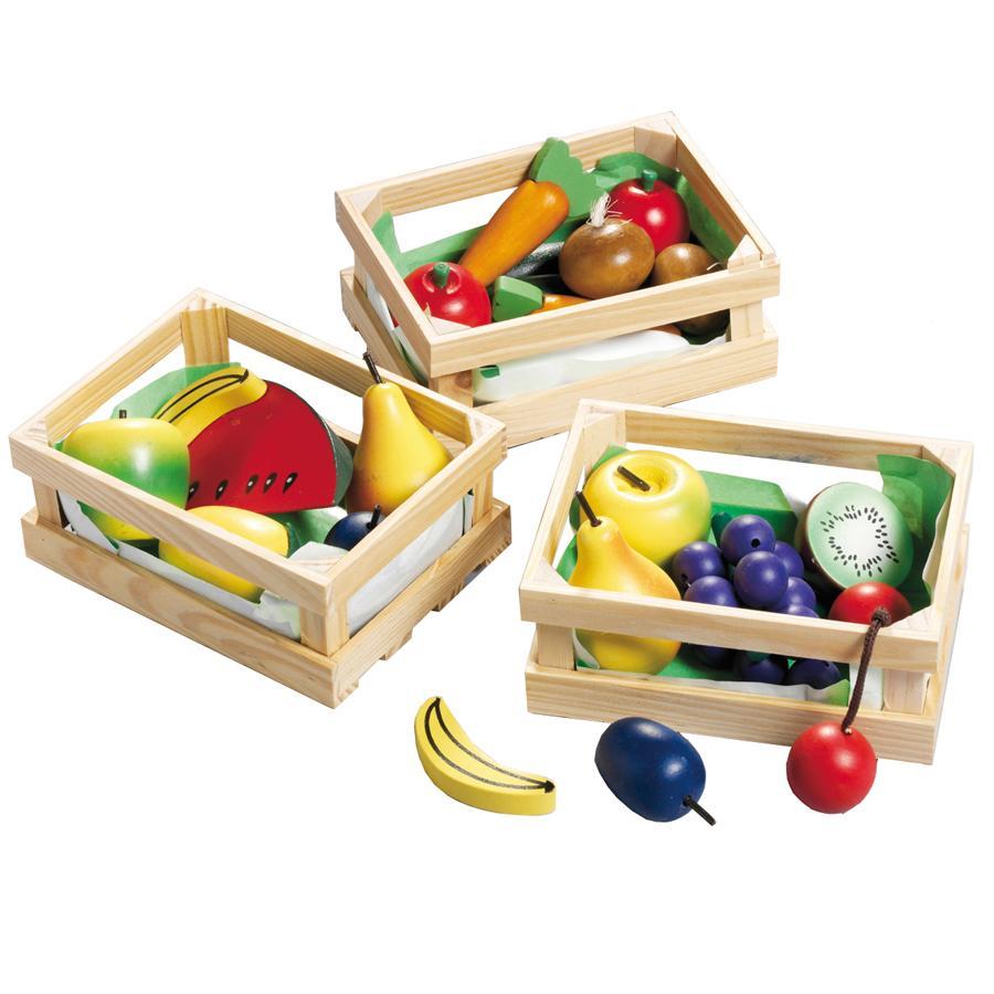 HAPPY PEOPLE Houten kist met fruit/groente