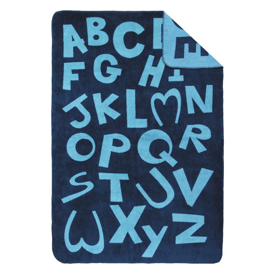 s.OLIVER Coperta jacquard Lettere 100x150 cm - blu