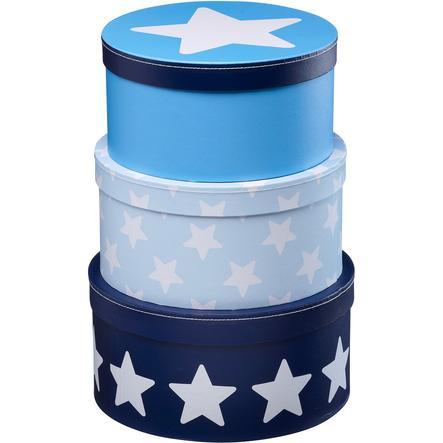 KIDS CONCEPT Krabičky - hvězda, modré, sada 3 kusů