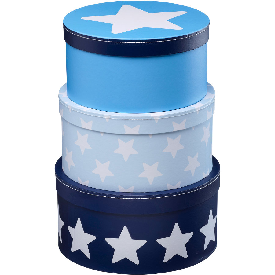 KIDS CONCEPT Pappbox rund Star blå