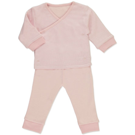 pink or blue Girls Baby-Set 2-teilig Wickeljacke mit Hose rosa, geringelt