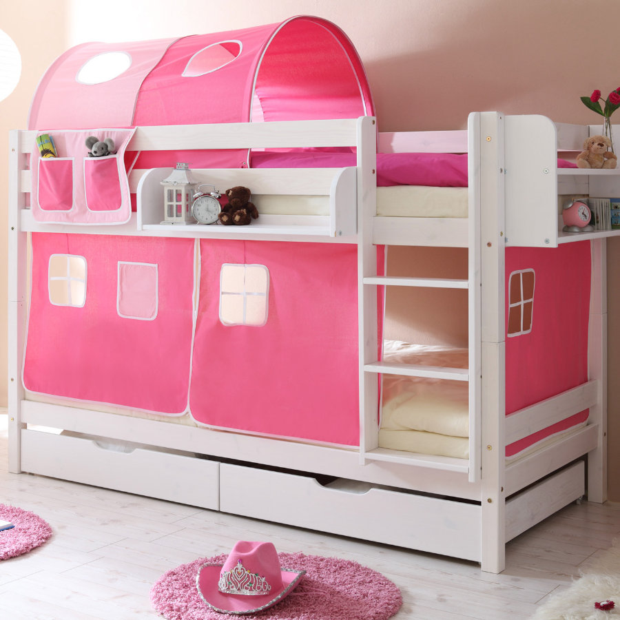 TICAA Stapelbed MARCEL massief hout grenen, wit, classic - roze pink - zonder tunnel