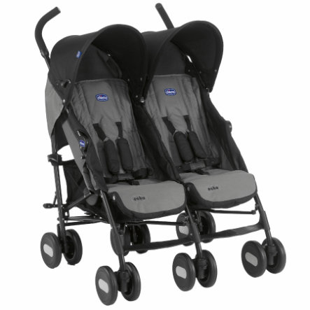 chicco Poussette canne double Echo Twin Coal