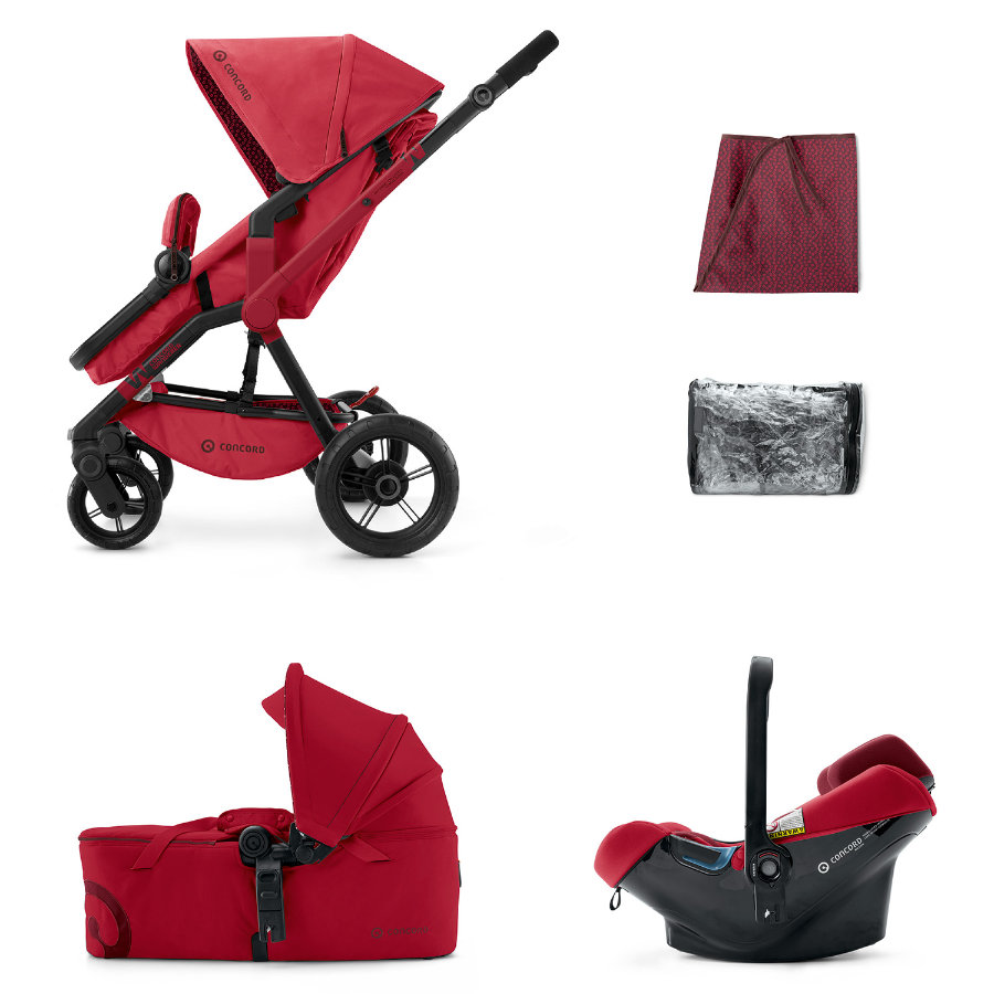 CONCORD Barnvagn Wanderer Mobility-Set Ruby Red