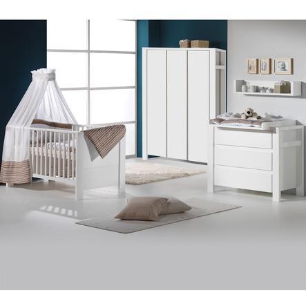 Schardt Ensemble lit bébé commode à langer armoire 3 portes Milano blanc