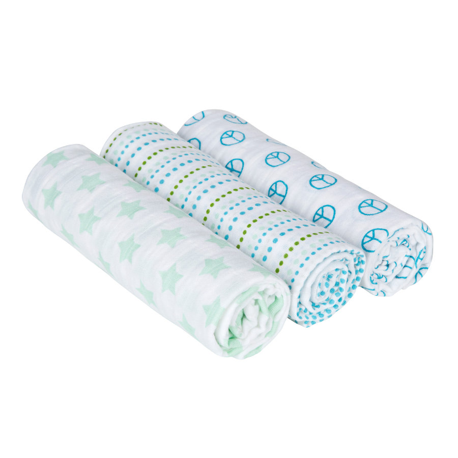 LÄSSIG Swaddle & Burp Blanket Sweet Dreams Boys 85 x 85cm