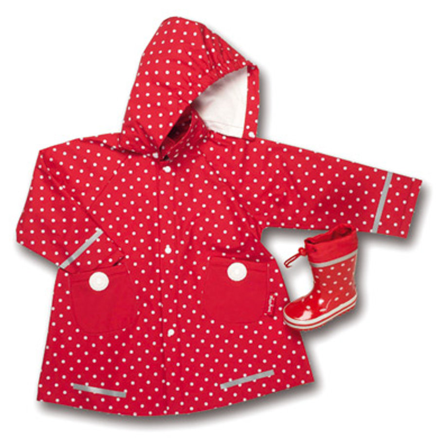 PLAYSHOES Cappotto Parapioggia Girls a pois, colore rosso