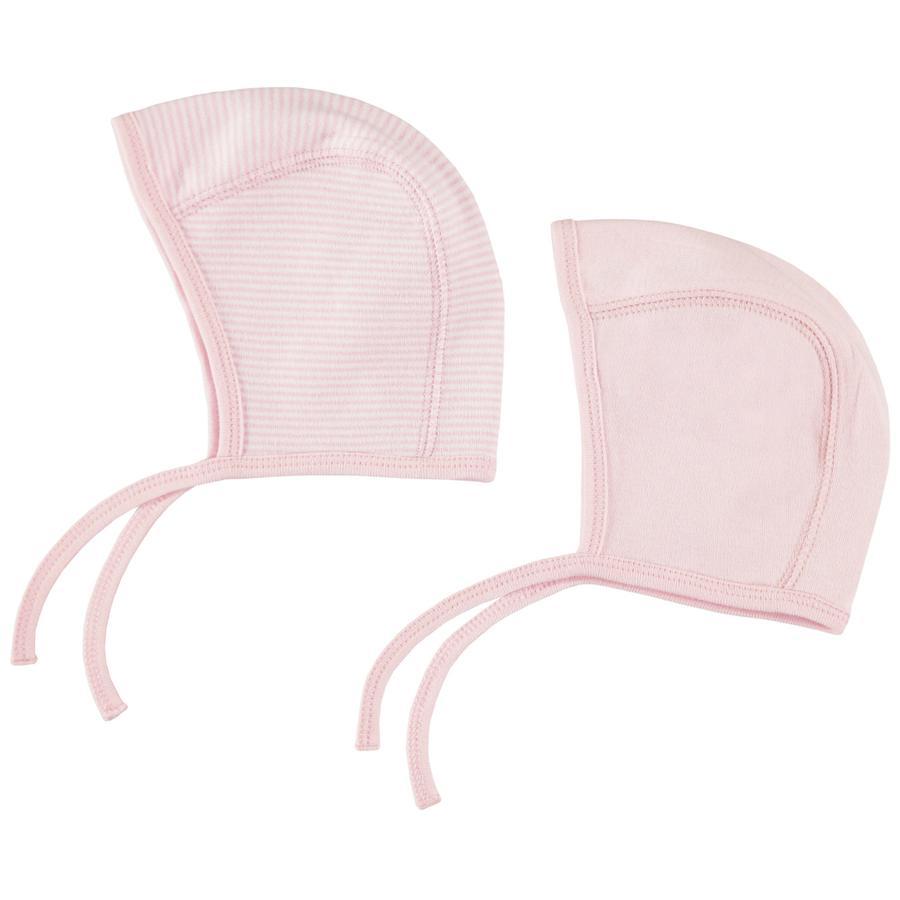 pink or blue Girls Erstlingsmütze 2er Pack rosa, geringelt