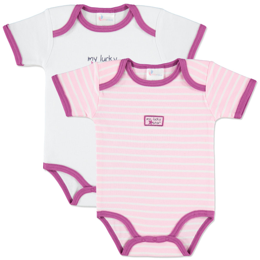 pink or blue Girls Rompers my lucky star Double Pack pink and white stripes