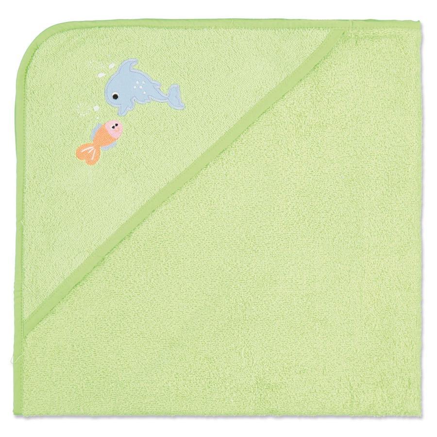 pink or blue  Ręcznik kąpielowy z kapturem frottee Zwierzątka kolor zielony  80 x 75 cm