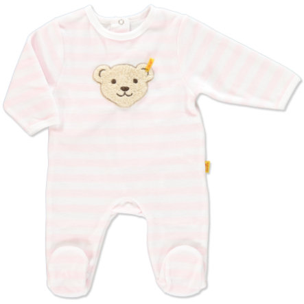 STEIFF Girls Baby Velour Romper Stripes rosé