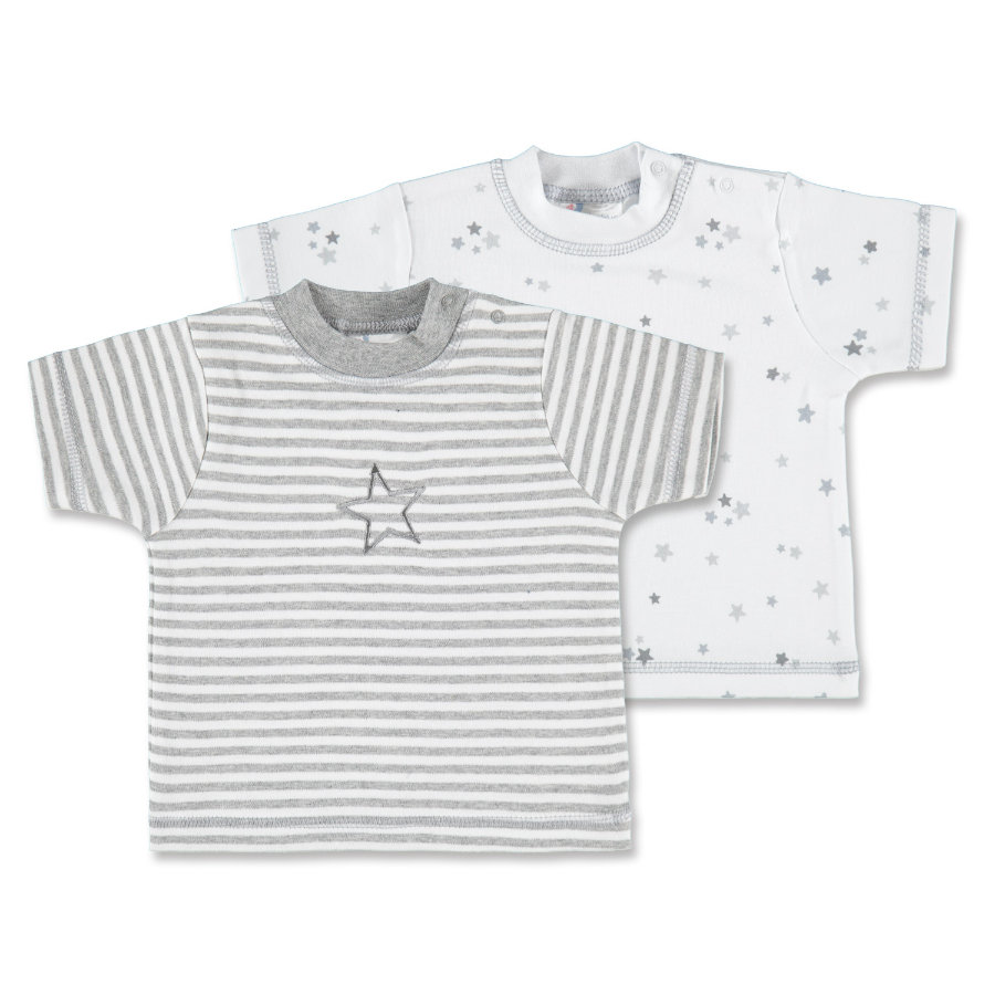pink or blue Lot de 2 t-shirts Étoiles, motifs, blanc/gris