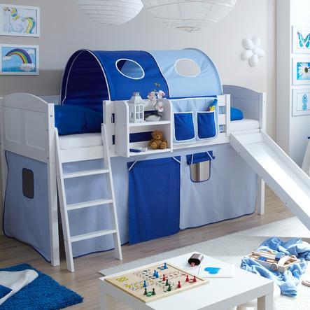 TICAA Łóżko ze zjeżdżalnią EKKI sosna white Country kolor jasnoniebieski/ciemnoniebieski