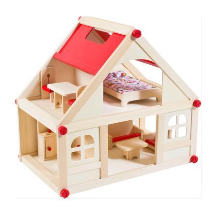 GLOW2B Puppenhaus mit Möbeln und Puppen