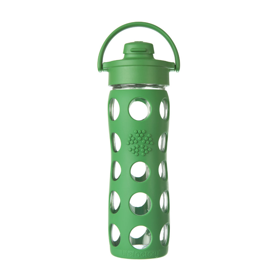 "LIFEFACTORY Glazen Drinkfles ""grass green"" met Flip Top Deksel 475ml"