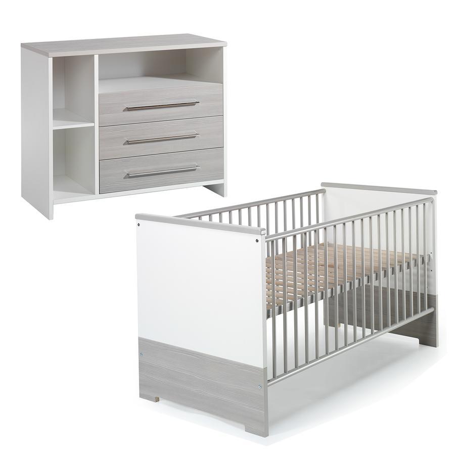 SCHARDT Eco Silber Kit chambre enfant avec lit kit de transformation commode et plateau