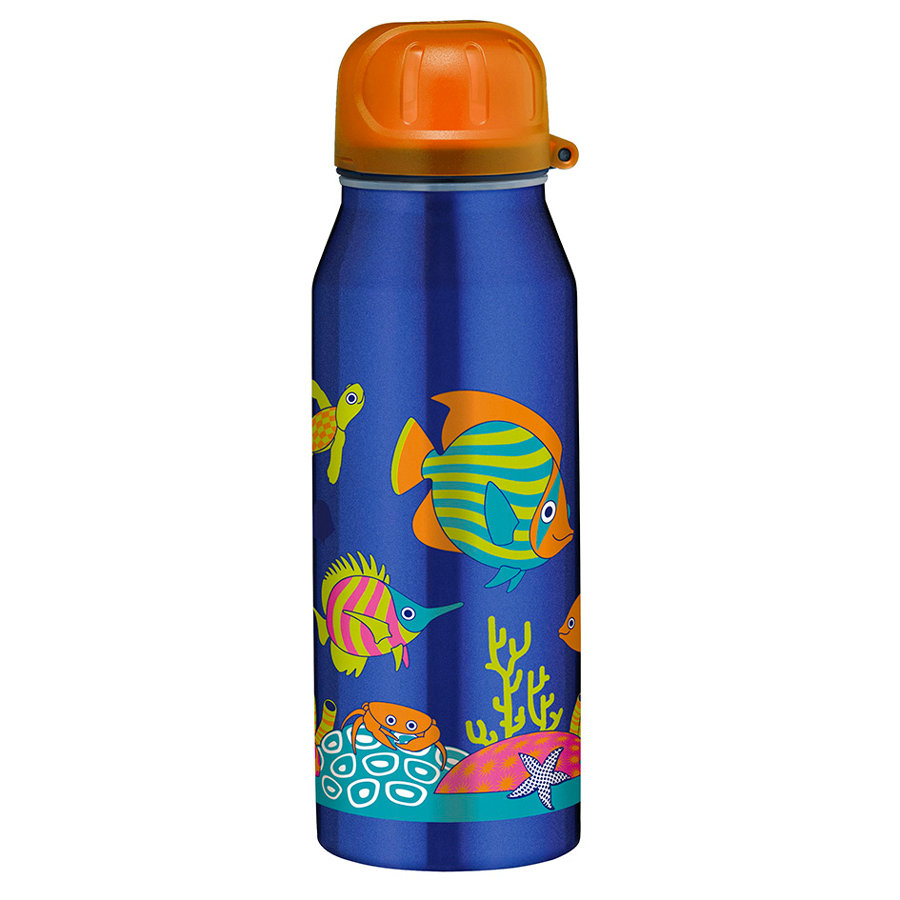 ALFI Trinkflasche ISO Bottle aus Edelstahl 0,35l Design Happy Fish, blau