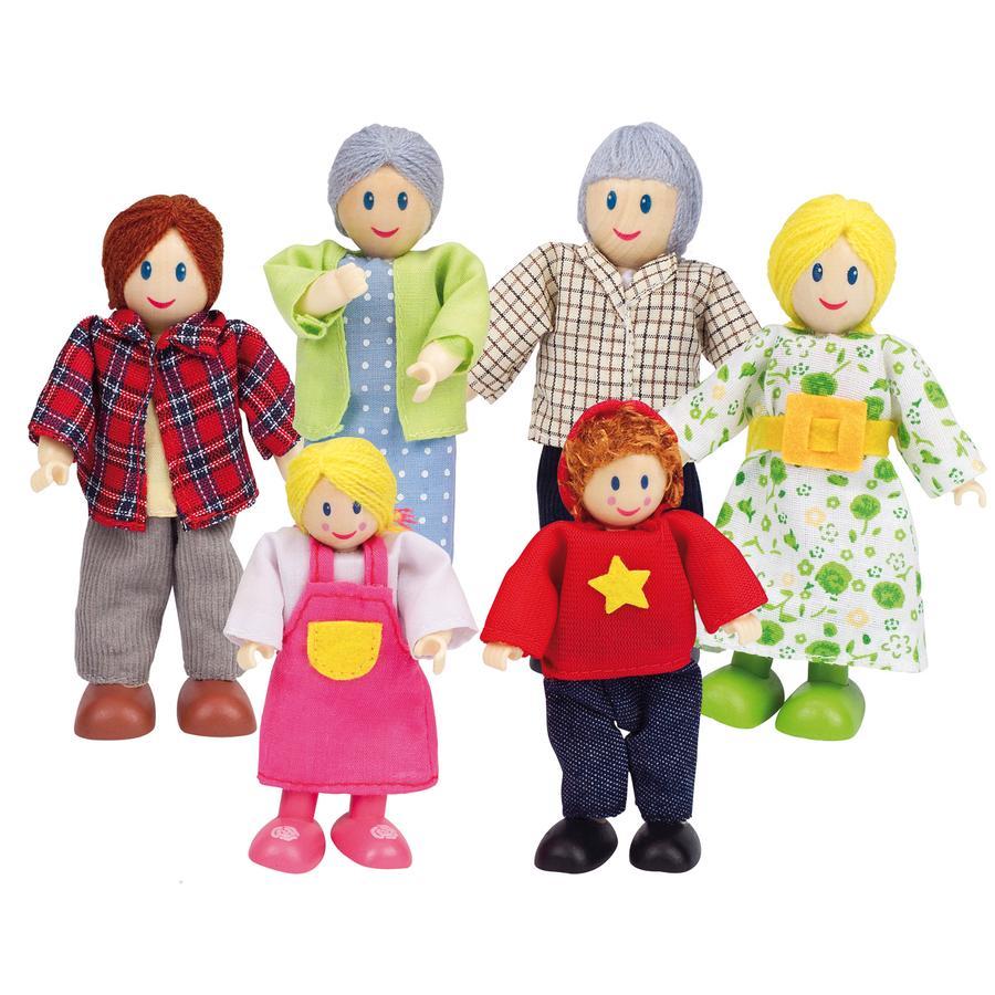 Hape Famille de poupées heureuse caucasienne 6 pièces bois E3500