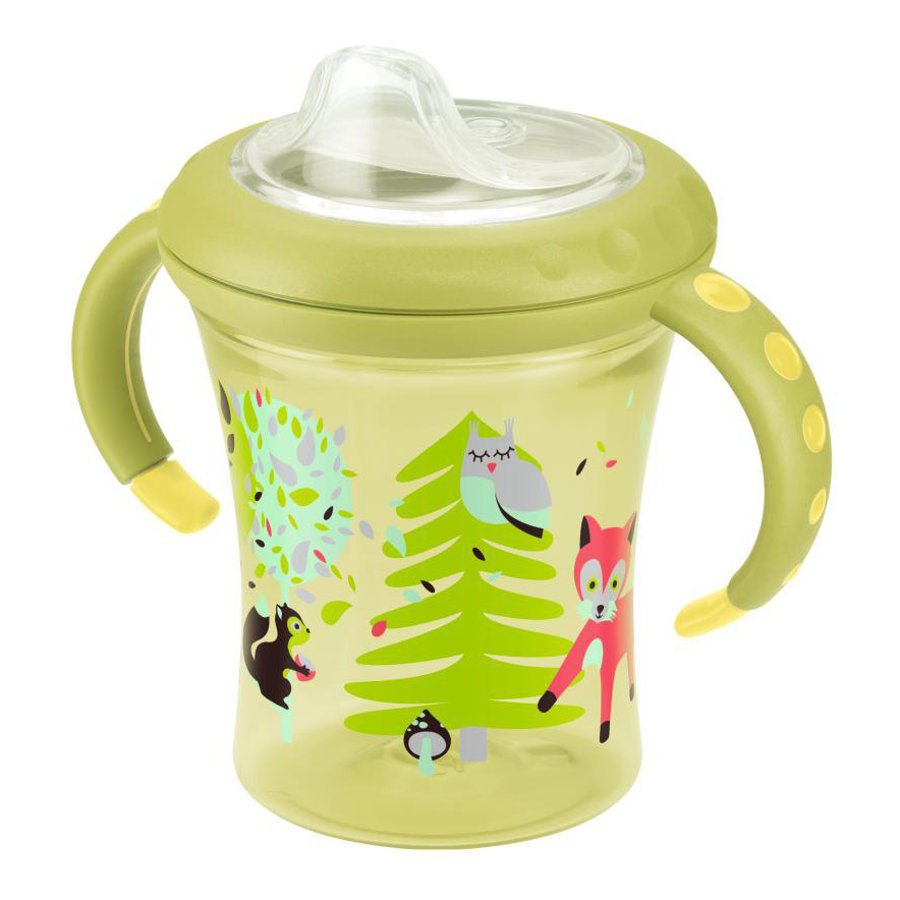 NUK Tasse d'apprentissage Starter Cup Easy Learning, bec souple en silicone, 220 ml, jaune
