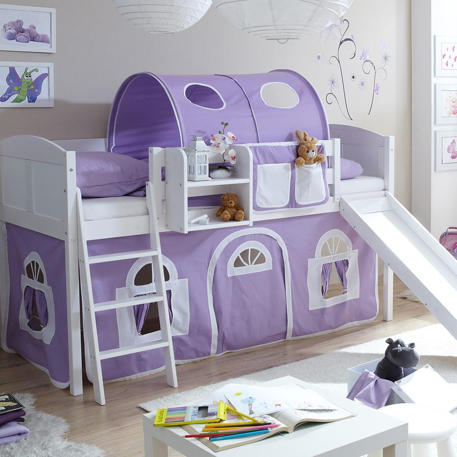 TICAA Patrová postel se skluzavkou EKKI borovice bílá Country - fialovo-bílá - venkovský dům