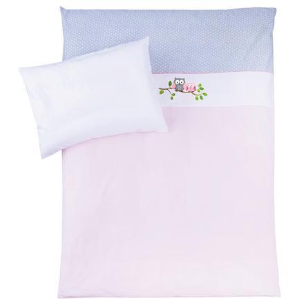 JULIUS ZÖLLNER Bettwäsche 100 x 135 cm kleine Eulen rosa