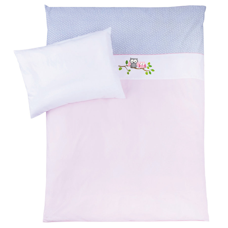 "ZÖLLNER Lenzuola 100 x 135 cm ""Piccola civetta"" rosa"