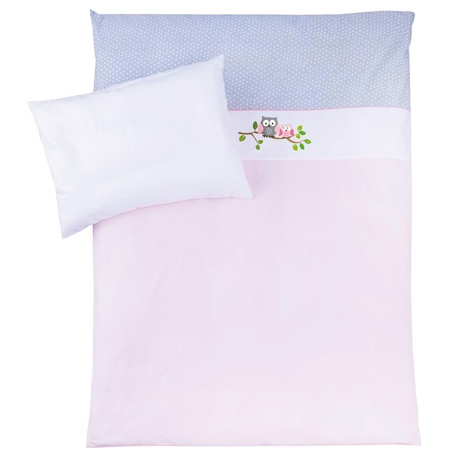ZÖLLNER Zestaw pościeli 100 x 135 cm Sówki kolor różowy