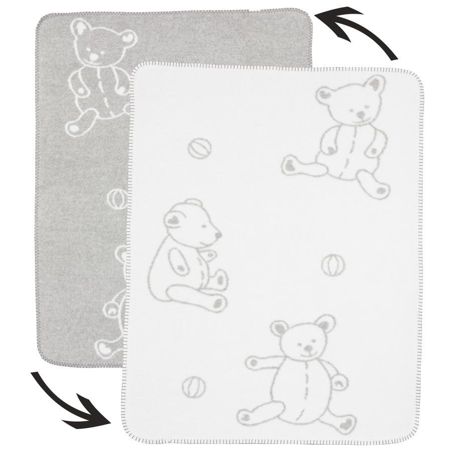 ALVI Couverture coton pour bébé à bordure surpiquée Teddy gris