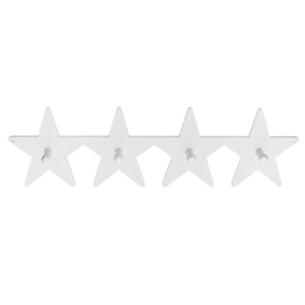 Kids Concept® Portemanteau étoile, blanc bois 50 cm, 4 pièces