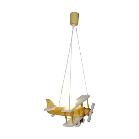 WALDI Lámpara pendular avión, madera/blanco 1 bombilla