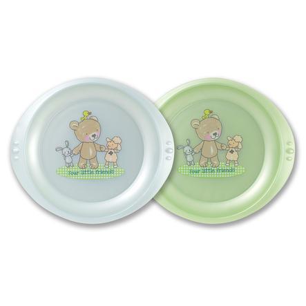 ROTHO Piatto Prima Pappa Set da 2 Baby Blu perlato/Verde perlato