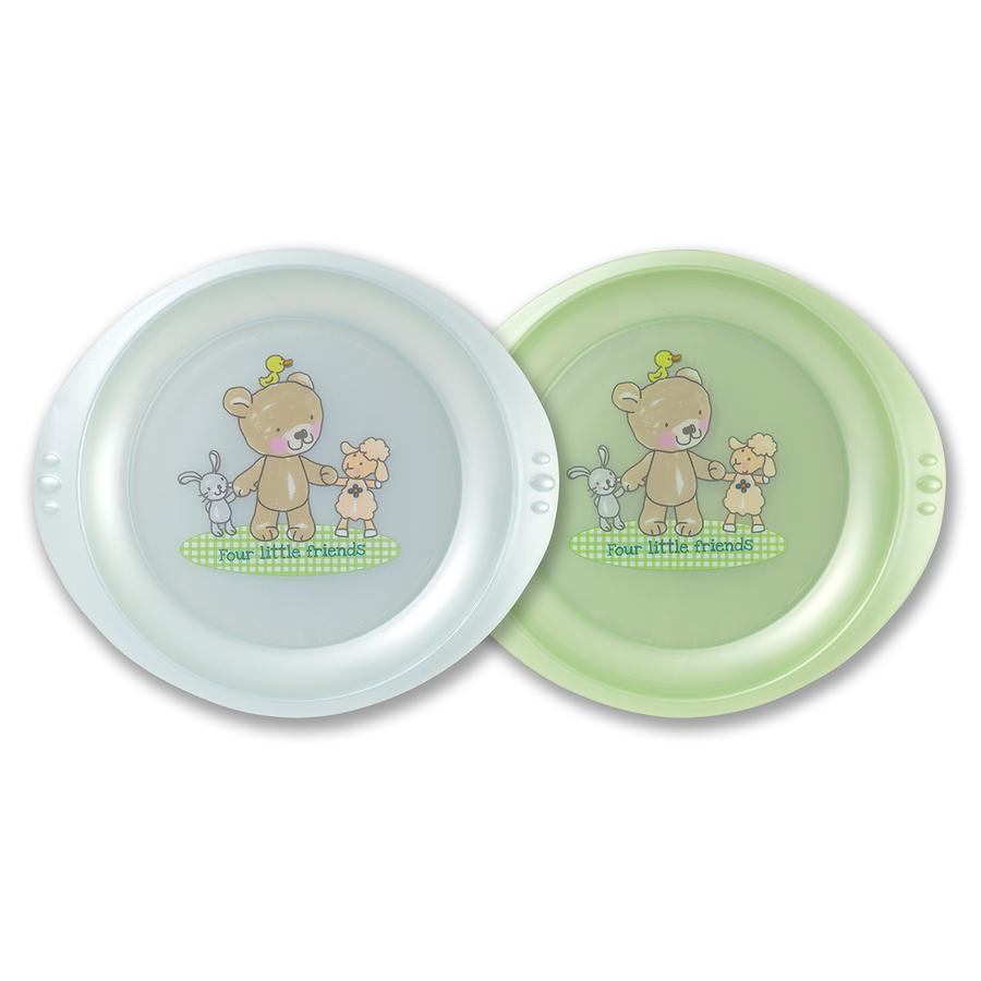 Rotho Babydesign Esslernteller 2er Set Baby Blue perl/Lindgrün perl