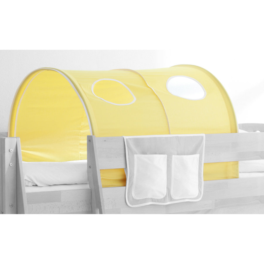 TICAA Tunnel für Hoch- und Etagenbetten - Landhaus Gelb-Weiß