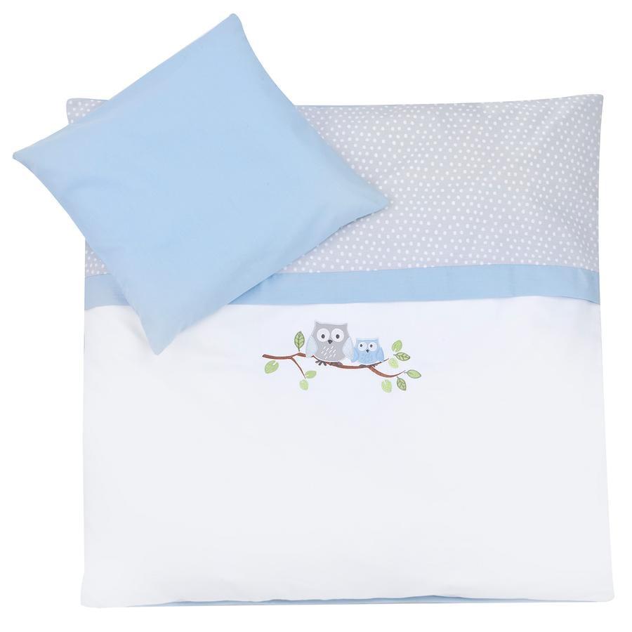 ZÖLLNER Juego de sábanas 80 x 80 cm ''pequeñas lechuzas'' azul