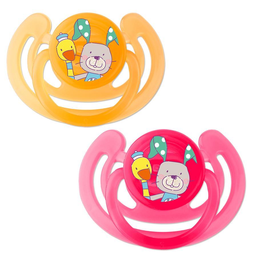 Rotho Babydesign Silikon-Beruhigungssauger Smile raspberry / mandarine 2er Set