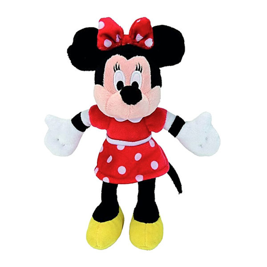 SIMBA Disney Minnie Mouse met rood jurkje, pluche 20 cm