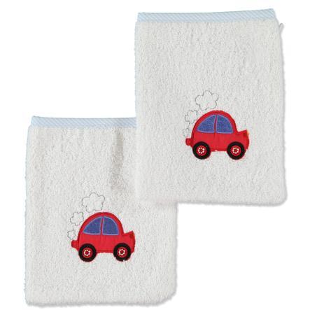pink or blue Boys Lot de deux gants de toilette Voiture, blanc-bleu clair