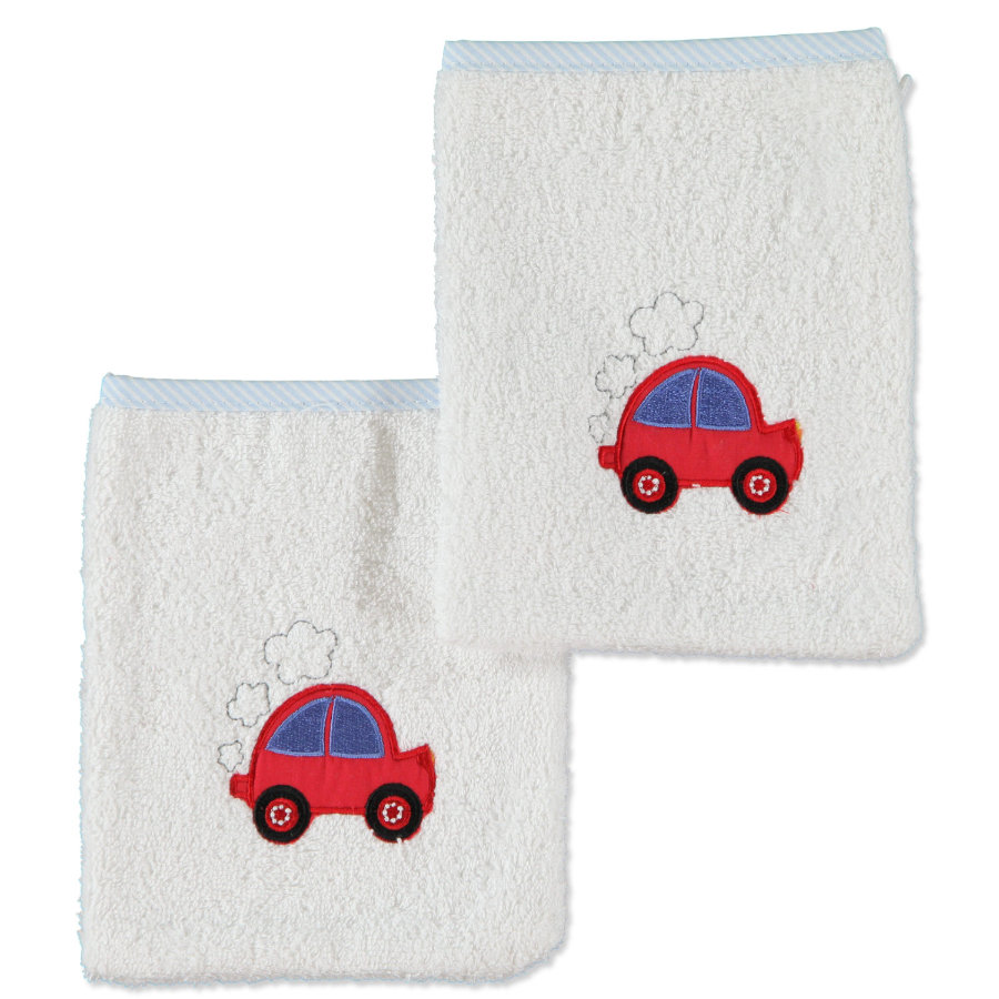 pink or blue tvättlapp bil 2-pack vit ljusblå