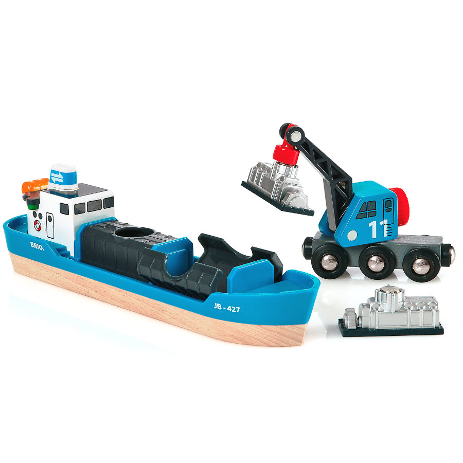 BRIO® WORLD Containerschiff mit Kranwagen 33534