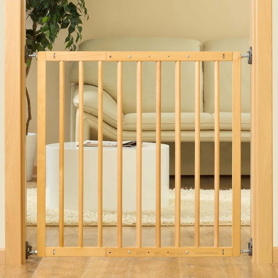 REER Barrière de porte et d'escalier à visser Basic Simple-Lock, bois, naturel