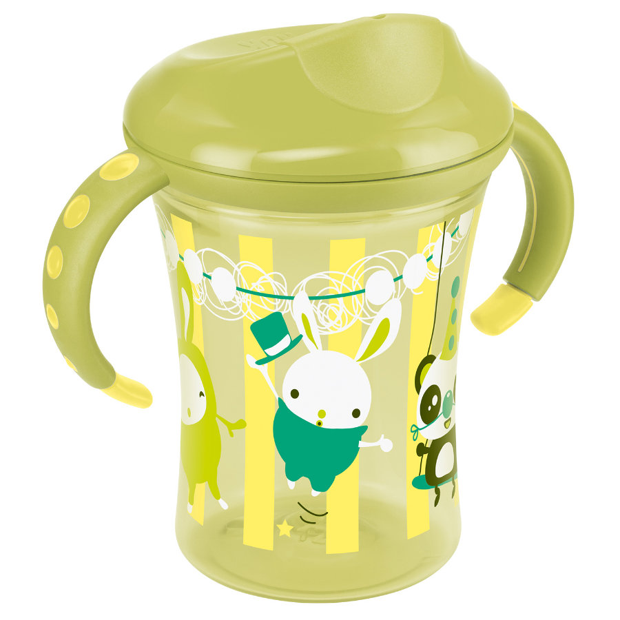NUK Tasse d'apprentissage Trainer Cup Easy Learning, bordure rigide, 250 ml, jaune