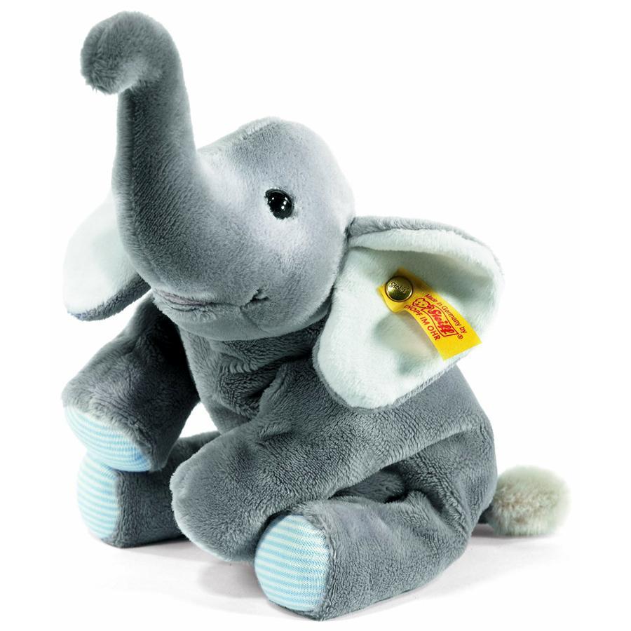 STEIFF Steiff´s kleiner Floppy Trampili Elefant, 22 cm grau liegend