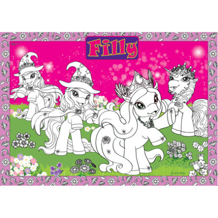 BoMaBi Grande Disegno da Colorare - Filly Unicorn, Princess & Witchy