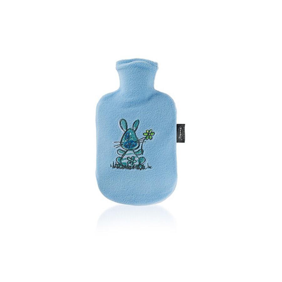 FASHY Wärmflasche mit Flauschbezug und Stickerei blau