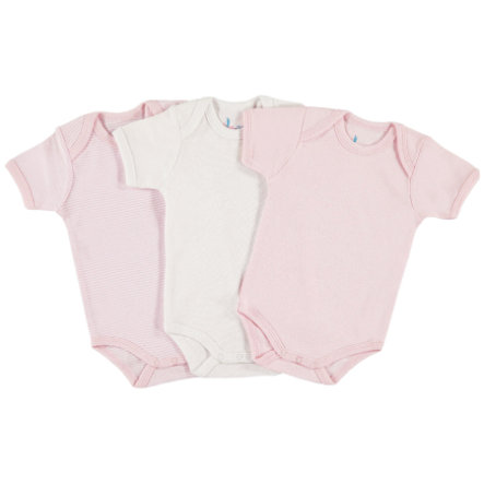 pink or blue Girls Baby Body Maniche 1/4, confezuione da 3, rosa, bianco
